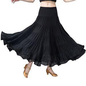 Ballroom Dance Skirt Long Length Spread hem Elegant Modern Dance Maxi Skirt Women Flamenco Latin Tango Practice Stage Costumes