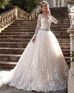Sheer Neck Long Sleeves Appliques New Vintage Cheap Lace Wedding Dresses Vestios De Novia Bridal Gown