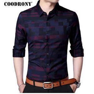 COODRONY Homens shirt dos homens de negócios informais Shirts New Arrival Men Roupa Famoso Plaid manga comprida Camisa Masculina 712