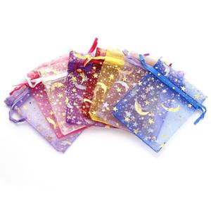 25pcs schöne Mischfarben-Organza Beutel 7x9cm 9x12cm Mond-Stern Kleiner Schmuck Taschen für Hochzeit Urlaub Organizer Taschen F1738