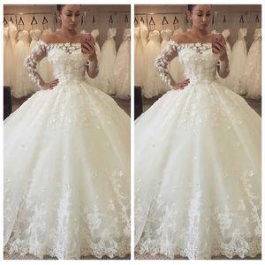 Кружева с плеч из тюляных шариковых платьев свадебные платья с длинными рукавами свадебные платья 2021 Bateau Wee Garden Vestidos de Mariee Foral