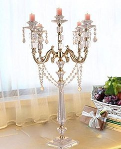 5-arms Acrylic Candle Holders Gold Candelabra Centerpieces 30.3 Inches Elegant Candlestick With Crystal Pendants Home Decor