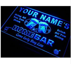 Nom P-TM Nom personnalisé Barre de maison personnalisé Tasse de bière LED Neon Sign 7 Couleurs ou multicolore avec 5 tailles Forme ronde ou rectangle