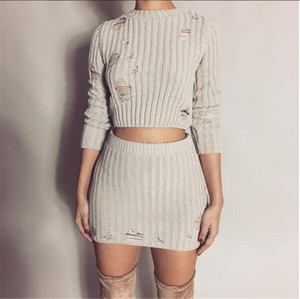 2018102411 Women Sexy Autumn knitted Tops and Mini Dress 2 Piece Set Fashion Hollow Out Bodycon Skirt and Sweater Two Piece Set