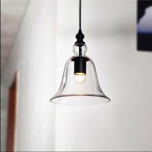 Suspension industrielle industrielle avec abat-jour en verre clair suspendu E27 Bell type lustres anciens petite cloche