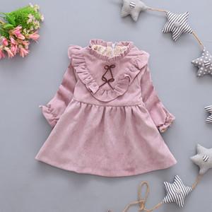 New Autumn Girls Long Sleeves Dress Fashion Bowknot Baby Princess Dress Children's Clothing Brand High Quality
