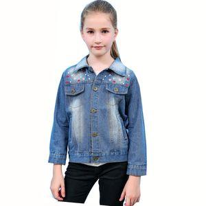 Новый 2018 Весна Дети Девушки Корейский Мода Вышитые Ковбой Джинсовые Джинсы Куртка Для Подростков Девочек Одежда Пальто 3-11 Лет