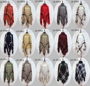 2018 Plaid Poncho Maternity Women Nappa Camicetta Maglia maglione Cappotto Vintage Wraps Maglia Sciarpe Tartan Inverno Cape Grid Scialle Cardigan Mantello