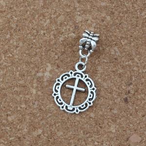 100 unids / lote cuelga la plata antigua círculo de la flor abierta cruz encanto Gran agujero del grano Fit European Charm Bracelet Jewelry 16x32