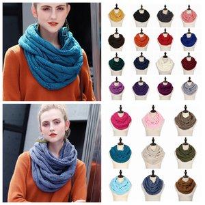 Knit Circle Loop Bufanda con logo Crochet Cuello bufanda del anillo Mujeres Wool Wrap Wrap bufandas bufanda gruesa 25Colors 20pcs AAA1408