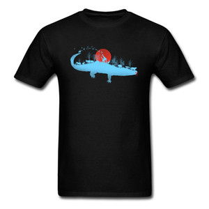 Wildlife Animal T Shirt Art Painting Men Plus Size XXXL Crocodile T-Shirt Sunset Jungle Beast T Shirt For Men 2018 New Fashion