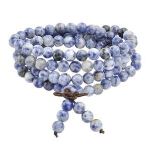 1 stück Heißer 6mm 8mm Natürliche Sodalith Stein Heilung Edelstein 108 Buddhistischen Gebetskette Tibetischen Mala Stretch Armband Halskette