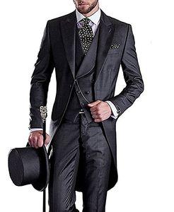 Morning Style Charcoal Grey Trapeaux Broom Groom Tuxedos Beaux hommes Mariage Wear Hommes de haute qualité Hommes Formel Formel Prom costume (veste + pantalon + cravate + gilet)