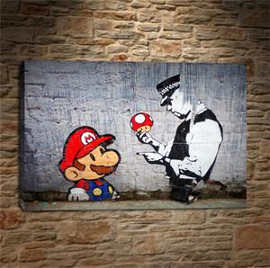 بانكسي كتابات الفن ماريو وشرطي ، يطبع قماش جدار الفن النفط الطلاء ديكور المنزل / (غير المؤطرة / مؤطر)