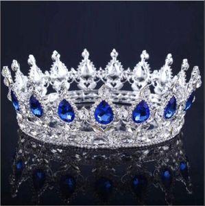 2020 Princesa Cristais Crown casamento Liga nupcial Tiara Barroco Rainha Rei Crown Limpar Royal Blue Red Rhinestone nupcial Tiara Coroa