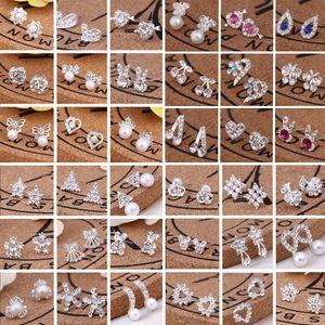 Bijoux en gros chaud meilleurs amis blanc plaqué or boucles d'oreilles grand diamant boucles d'oreilles pour les femmes blanc zircon boucles d'oreilles 300 paires / lot, 45 styles