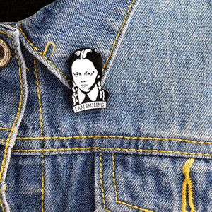 Wednesday pins I am smiling Adams Family Brooches Head Portrait Collar Pins addams necklaces Girl jewelry Accessories Gifts