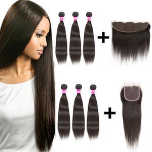 뜨거운 미가공 된 브라질 처녀 머리카락 직조 wefts 13x4 레이스 정면 또는 4x4 레이스 클로저로 3 묶음 human hair weave