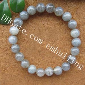 10 Unids Labradorite Crystal Bracelet 8mm Grey Moonstone Blue Flash Granos redondos Healing Energy Pulseras Pulsera de pulsera Spectrolite Anti-Estrés