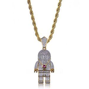 Hip Hop Street Gold Silver Couleur Plaqué Collier Spaceman Collier Micro Pave Zircon Glacé Out Astronaut Collier Pendentif pour Hommes