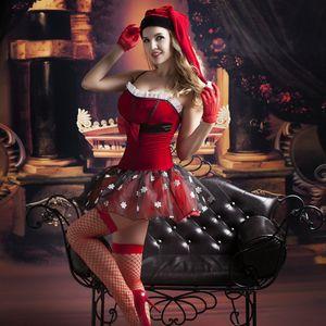 Femmes Sexy Costume De Noël Corset Rouge Top Père Noël Cosplay Costume Érotique Holloween Costumes pour Femmes 9757