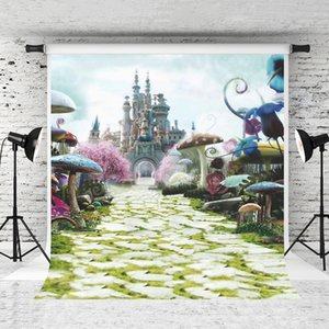 5x7ft Vinyl Fantasy Castle Backdrop Красочные Грибное Небо Фотография Фон для Детей День Рождения Фотосессии Студия Фонов Опора