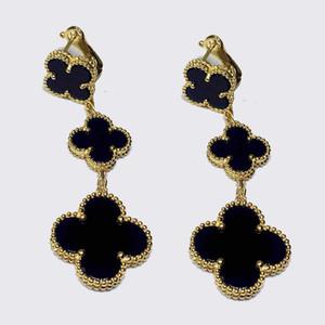 Wholsale marca de venta caliente 925 de cuatro hojas del trébol de joyería para los pendientes de las mujeres 3 flores de trébol blanco negro rojo cáscara de múltiples colores verdes