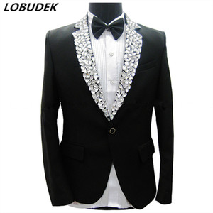 Sparkly Rhinestones Black Jacket Blazers Pants Men's Suits Male Singer Stage Performance Costume Party Host Groom Wedding Dress