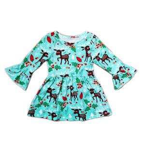 Xmas Baby Flare manga vestido niños ciervos de Navidad imprimir princesa vestidos otoño moda Boutique Kids Clothing C5297