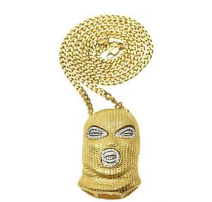 Hip Hop CSGO Pendentif Collier Hommes Style Punk 18K Alliage Or Argent Plaqué Masque Tête Charme Charm Pendentif Haute Qualité Chaîne Cubaine