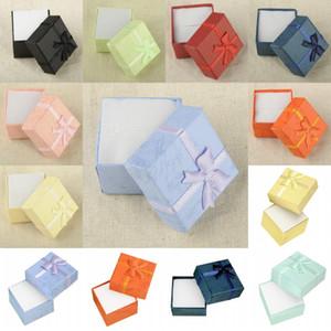Mix-Farben Geschenkboxen Armband Schmuck Ring Ohrring Geschenk Karton Box Bowknot Fall Schmuck Box Paket Make-up Veranstalter