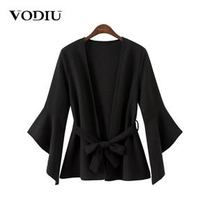 Vodiu Ceket Ceket Kadın Kemer Hırka Rahat Sashes Palto 2017 Yeni Parlama Kollu Seksi Ceketler Kadın Hırka Sonbahar Kadın Coat