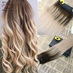 5 clips One Pipe Clip dans des extensions de cheveux humains avec dentelle droite Brésilienne Vierge Cheveux Ombre Balayage Couleur # 4 Fondation à # 18