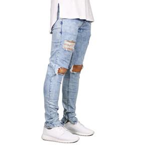 Hombres Jeans Stretch Destroyed Ripped Design Moda Cremallera en el tobillo Skinny Jeans para hombres