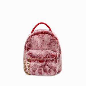 2018 Frauen Mini Pelz Rucksack Jugendliche Nette Rucksack mit Fuzzy Ball Kinder Kleine Umhängetaschen Weibliche Reisetaschen