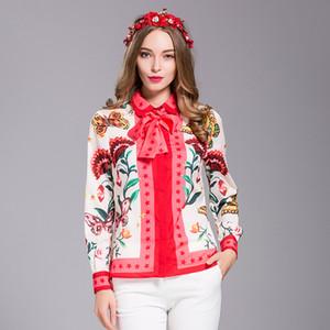 Оптовая продажа-Milan New Runway высокое качество 2018 Весна женская партия офисная работа печати цветы рубашка мода с длинным рукавом плюс размер блузка