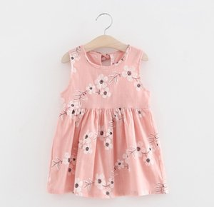 2018 Nouveaux été Bébés filles Robe sans manches O-Neck broderie florale Gilet belle robe tout-petits Vêtements enfants Tutu Robes