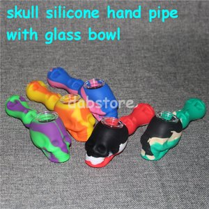 Hot Sale Silicone Rig silicone smoking pipe Hand Spoon Pipe Hookah Bongs 10 Colors silicon oil dab rigs with glass bowl DHL