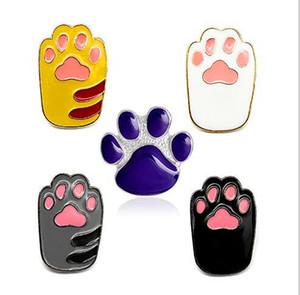 Moda Yaratıcı Karikatür Sevimli Kedi Broşlar Hayvan Pet Kediler Köpek Pençe Emaye Pin Denim Şapka Rozeti Sırt Çantası Pimleri Takı Çocuklar hediyeler