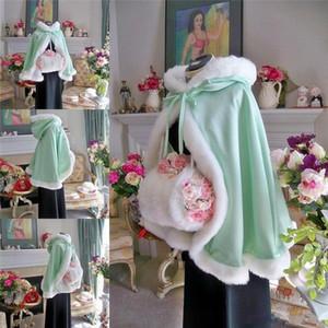 Su-Yeşil çocuk Custom Made Kız Pelerin Çocuklar Düğün Pelerinler Faux Kürk Ceket Kış Kid Için Çiçek Kız Çocuk Saten Kapşonlu Çocuk