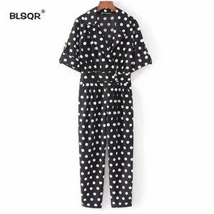 BLSQR 2018 Lindos puntos con cuello en V Monos Bolsillos Manga corta Mamelucos plisados Playsuits Vintage moda femenina pantalones casuales