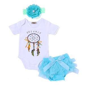 Set di abbigliamento per ragazze T-shirt con stampa DREAMER da 3 pezzi TUTU Shorts Manica corta Paillettes Shorts Fascia per capelli Fascia per capelli Cotone Abiti estivi 0-18 M