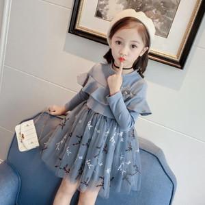 Girls Dresses Fashion Kids Girls Dress Stitching Cute Long sleeve princess dress kids dresses childrens clothing