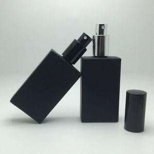 Sambette 50 adet Yüksek Kalite 50 ml Kare Cam Parfüm Şişesi 50 ml siyah Cam Sprey Şişe Koku Ambalaj Şişe Doldurulabilir 20 adet