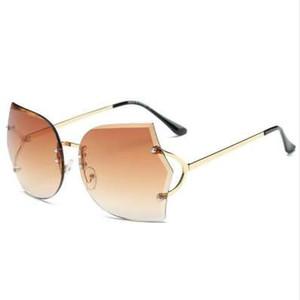 Emosnia Gradient Occhiali da sole senza montatura oversize Donna Occhiali da vista originali da donna con gradiente Vintage Oculos UV400 con panno