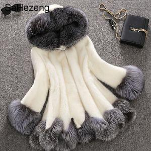 Saezeng inverno donne spesse faux fur cappotti lunghi faux volpe visone cappotto di pelliccia donne mujer donne faux fur coat plus size 6xl f04