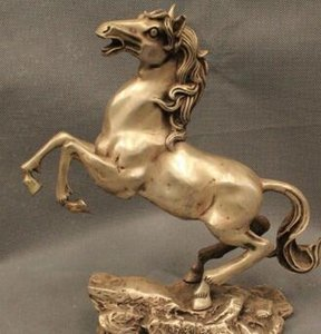 "ffree 10 ""China Chinese Feng shui Argent Lucky Zodiac Year Horse Money dessin Statue rapide"