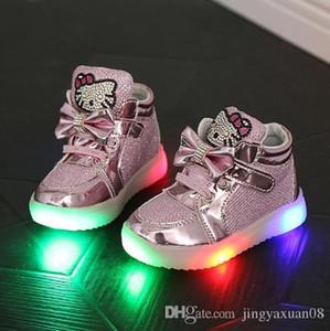 Enfants Chaussures Nouveau Printemps Bonjour Kitty Strass Chaussures Led Filles Princesse Mignon Chaussures Avec La Taille 21-30