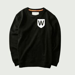 2018 Hot Sale New autumn Fashion Letter W Creative Cotton Print Men's Big Size Long-sleeved Black sweatshirt