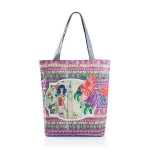 Цветочный принт холщовый мешок цветы Женщины сумки большие емкость женщины плечо сумки один сумка покроя Пляжные сумки